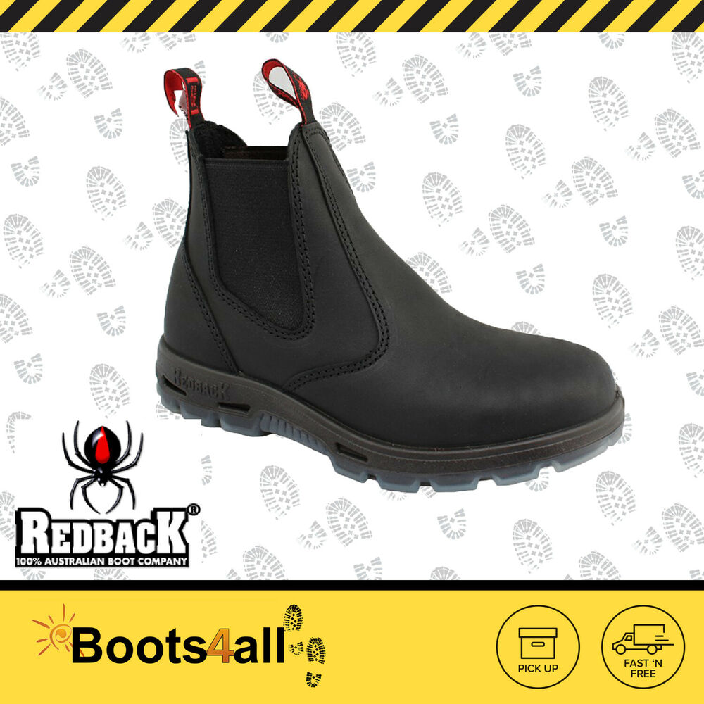 Redback Work Fire Station Mechanic Boots Black Leather