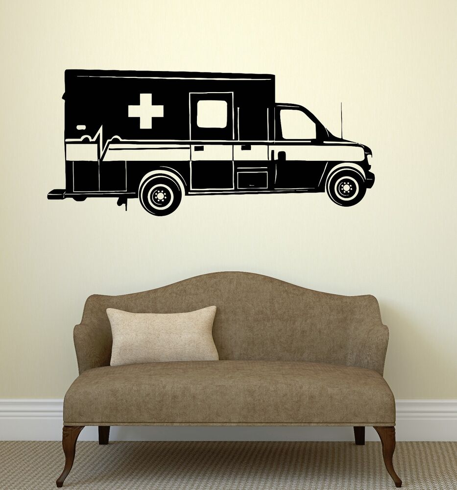 Wall decal ambulance car medicine mural vinyl stickers for Cars wall mural sticker