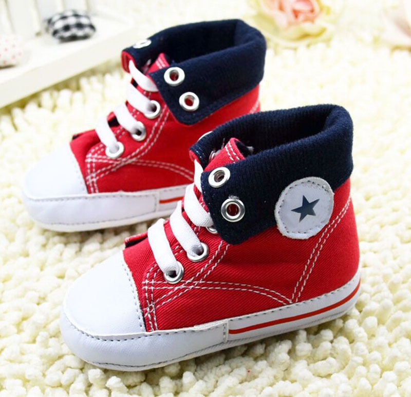 Infant Toddler Baby boy Girl Red Soft Sole Crib Shoes ...