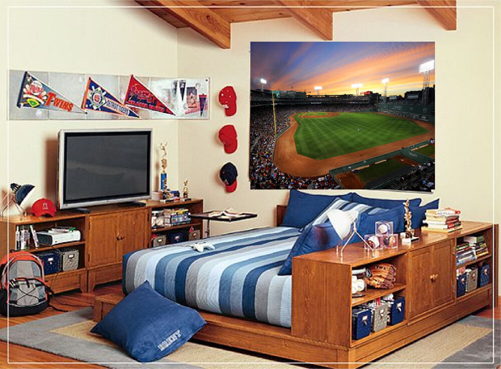 Fenway park baseball stadium wall mural repositionable for Baseball field wall mural