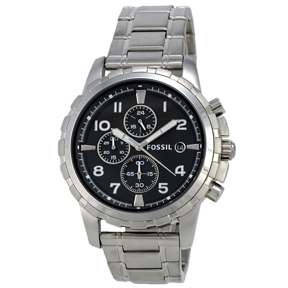 fossil dean fs4542 chronograph stainless steel black