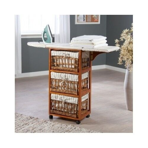 Rolling Ironing Board Center Organize Storage Wicker