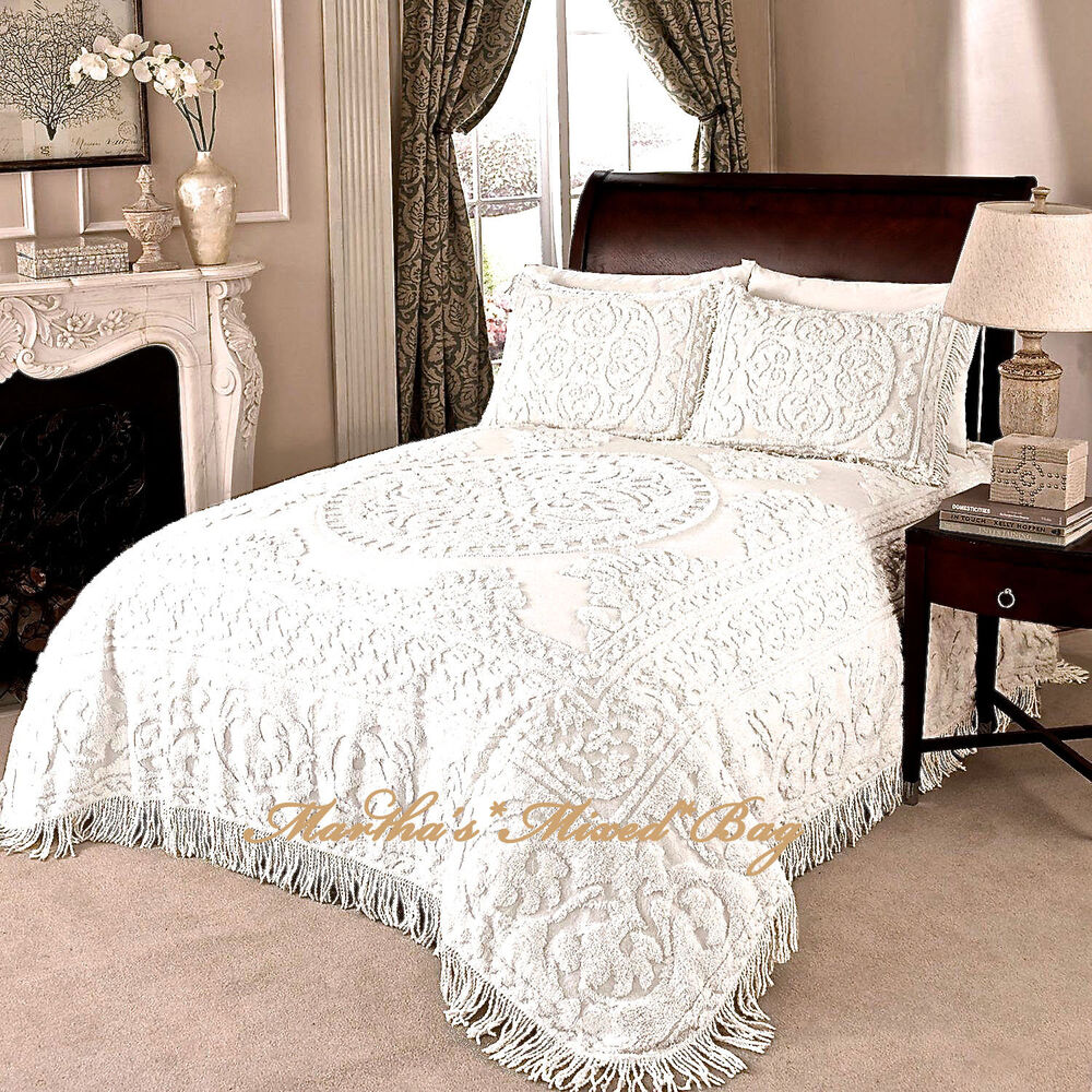 Chenille Medallion Bedspread Ivory Or White 100 Cotton