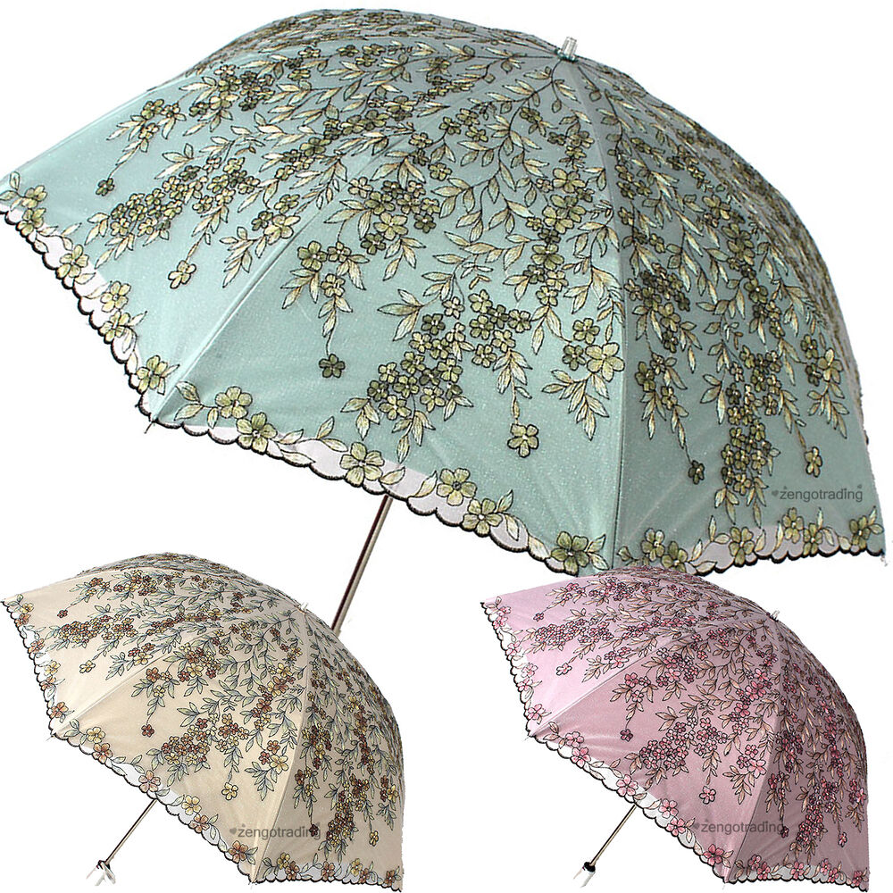 new embroidery willow branches umbrella anti uv sun rain lace sequin parasol ebay. Black Bedroom Furniture Sets. Home Design Ideas
