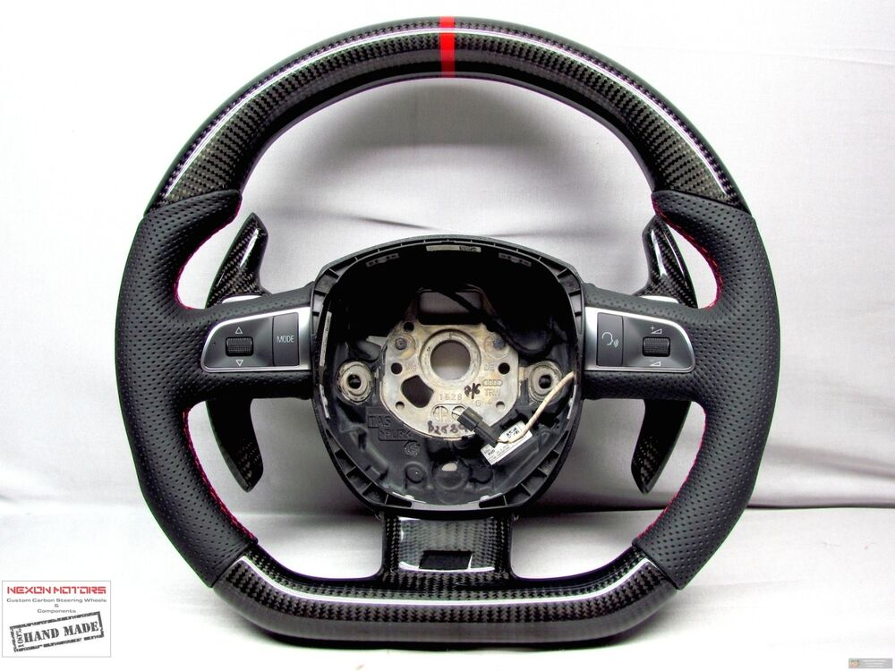 Carbon Steering Wheel Audi S8 A8 Q7 Rs6 S6 S5 Rs5 S4 Red Ring Perforated Flat Ebay