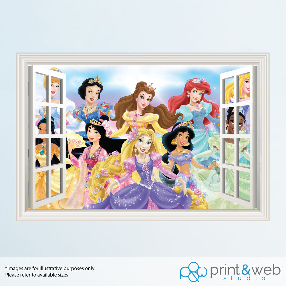 Disney Princess 3D Window View Decal Wall Sticker Home