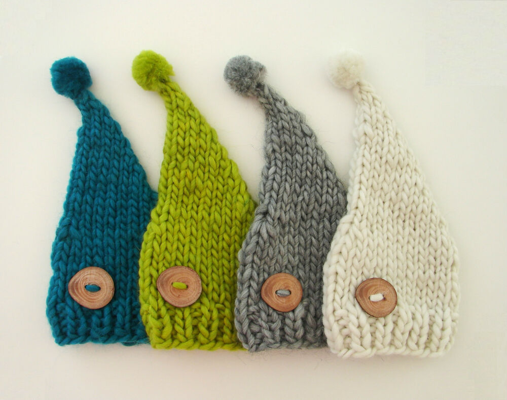 Baby Elf Knitting Pattern : Newborn Baby Knitted Elf Beanie Hat with a Pompon Photo ...