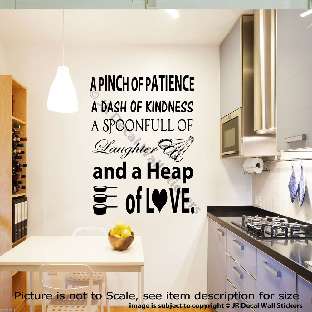 A pinch of patience vinyl lettering kitchen wall stickers for Kitchen wall sayings vinyl lettering