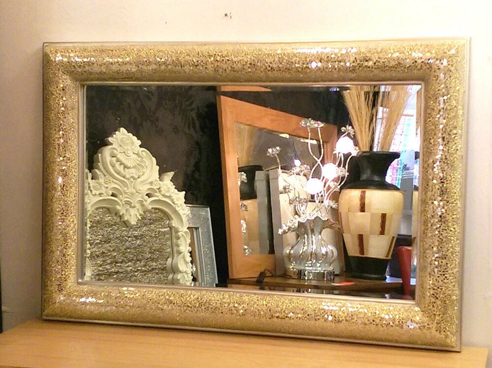 Silver Mirror Wall Photo Frame: Crackle Bow Design Wall Mirror Champagne Silver Frame