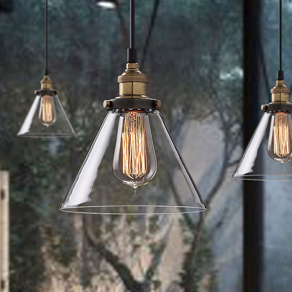 vintage antique industrial loft ceiling light pendant lamp metal glass