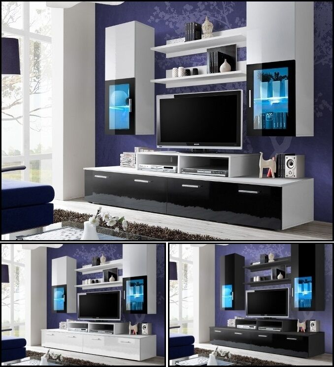Living Room Wall Display Unit Tv Cabinet Tv Stand High Gloss Led Lighting Mini Ebay