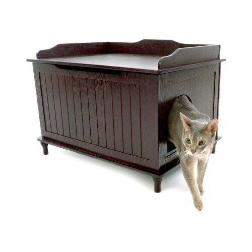 Enclosed Litter Box Cat Covered Large Kitty Furniture Hidden Decorative Bench Ebay