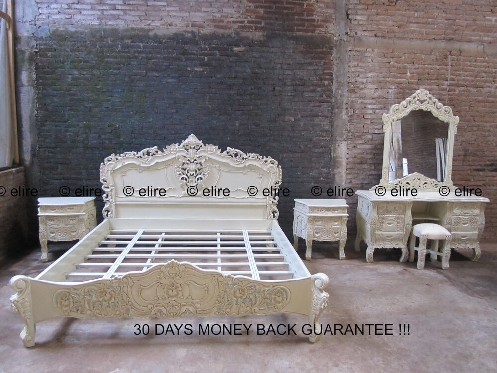 bedroom set any size super king double white black cream french rococo