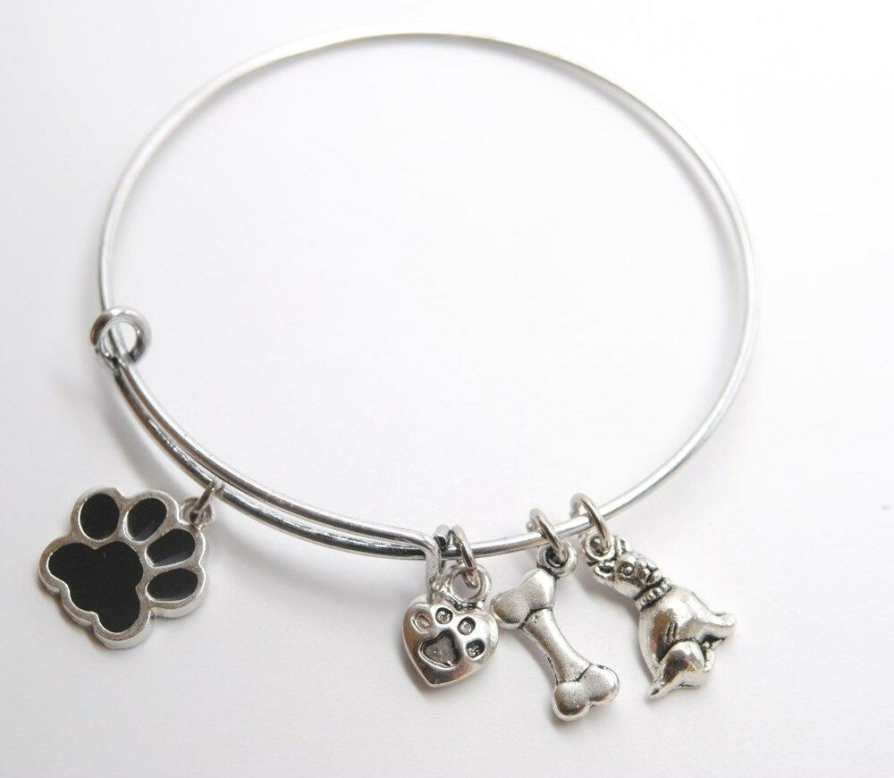 Expandable Wire BANGLE Antique Silver Charm BRACELET Dog