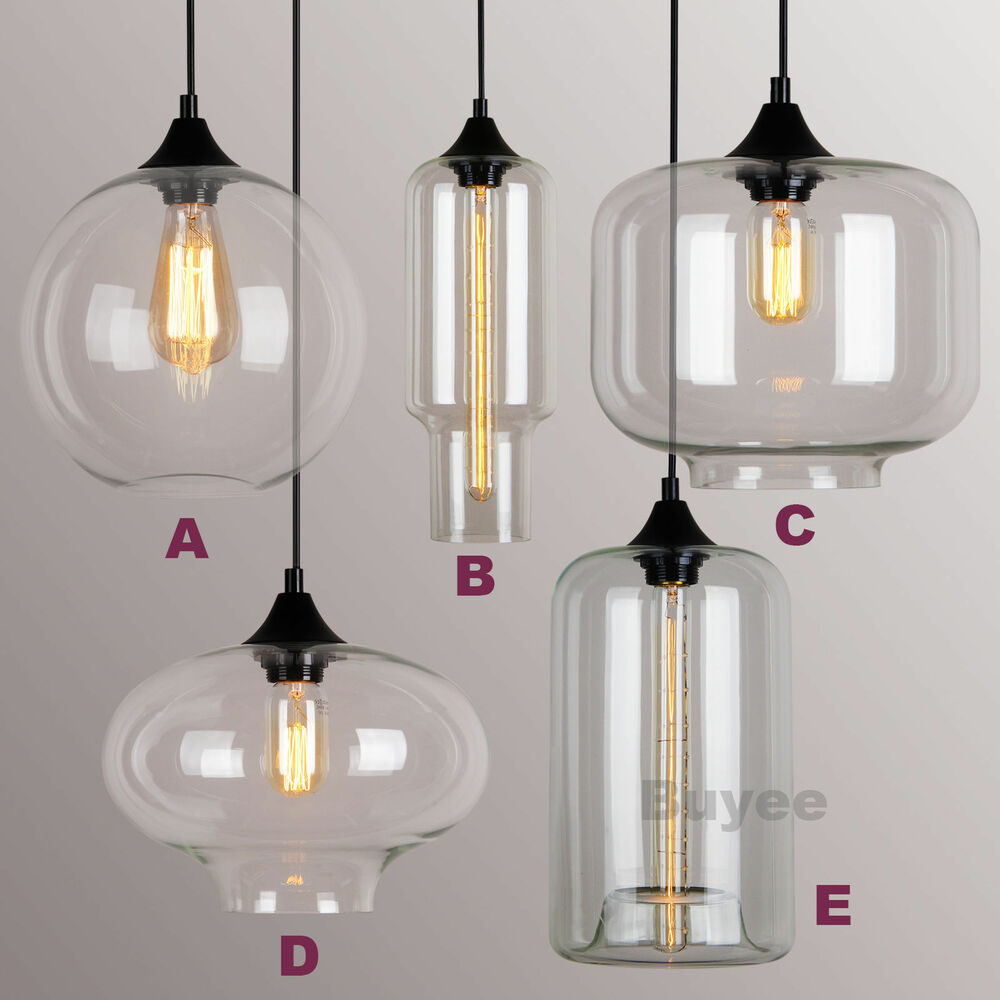 MODERN INDUSTRIAL STYLE PENDANT LIGHT GLASS SHADE CEILING LAMP ...