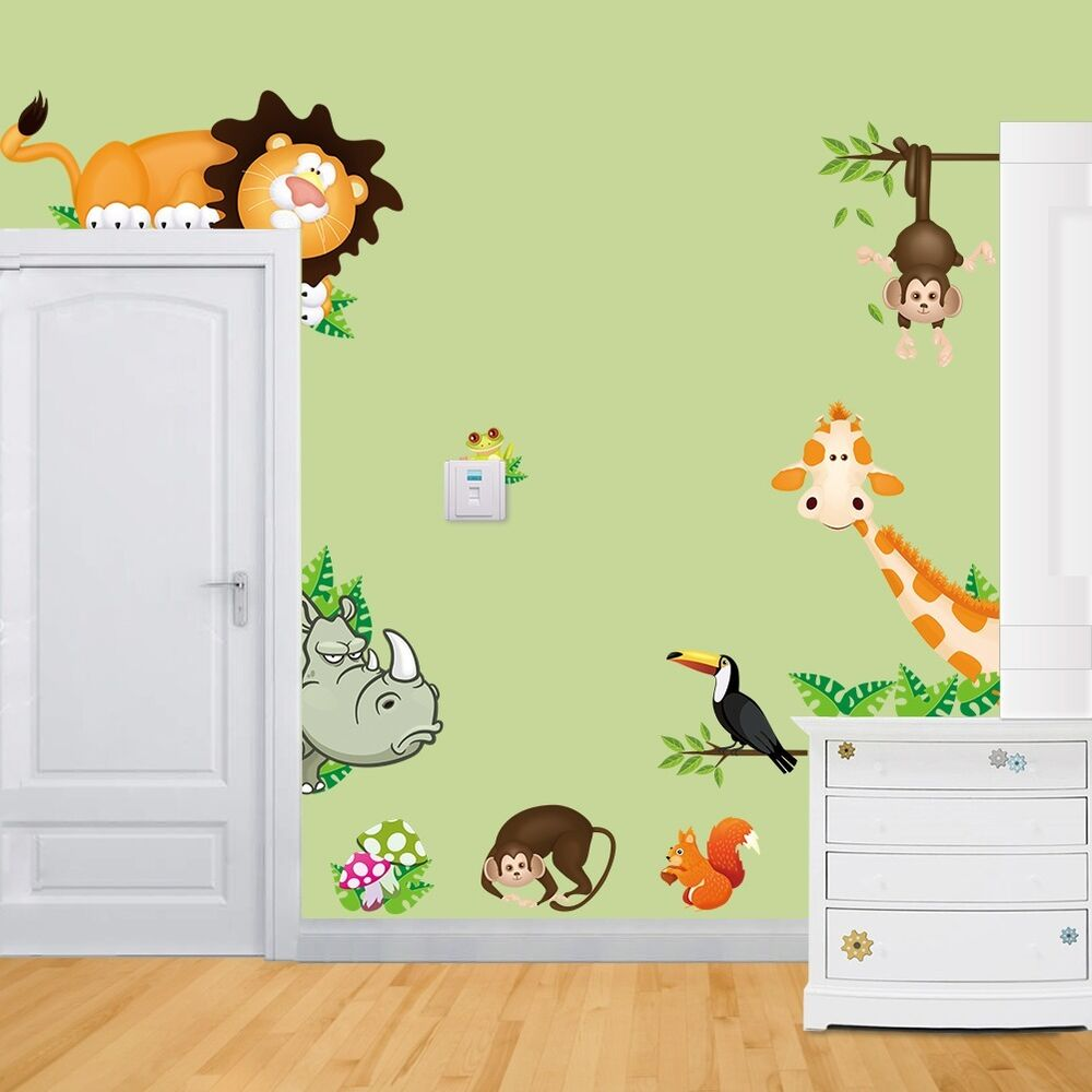 Jungle wild animals wall decals mural vinyl sticker for for Animal wall mural