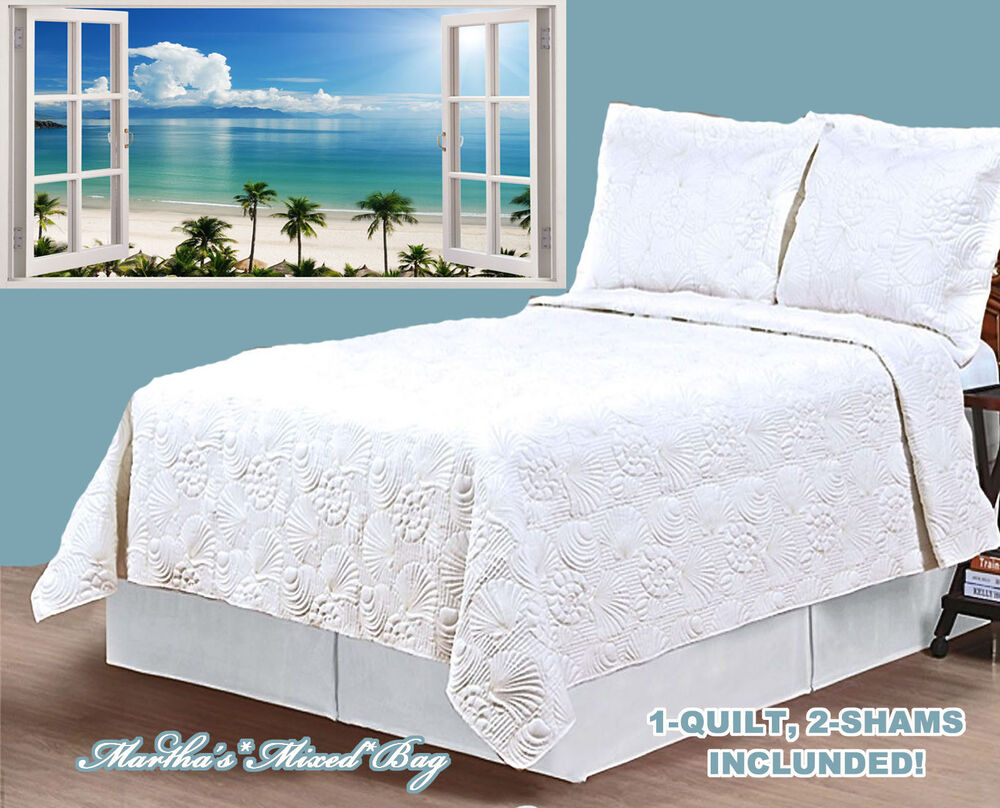White Seashell Quilt Set W Sham S Coastal Beach House