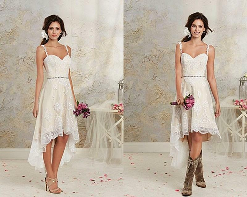 High Low Lace Wedding Dress Short Bridal Gown Custom Size