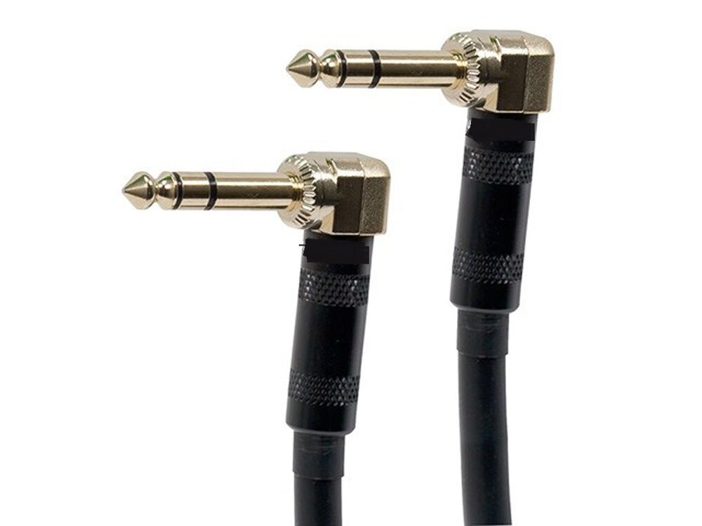 premium stereo 1 4 inch trs male to m right angle audio cable gold ebay. Black Bedroom Furniture Sets. Home Design Ideas