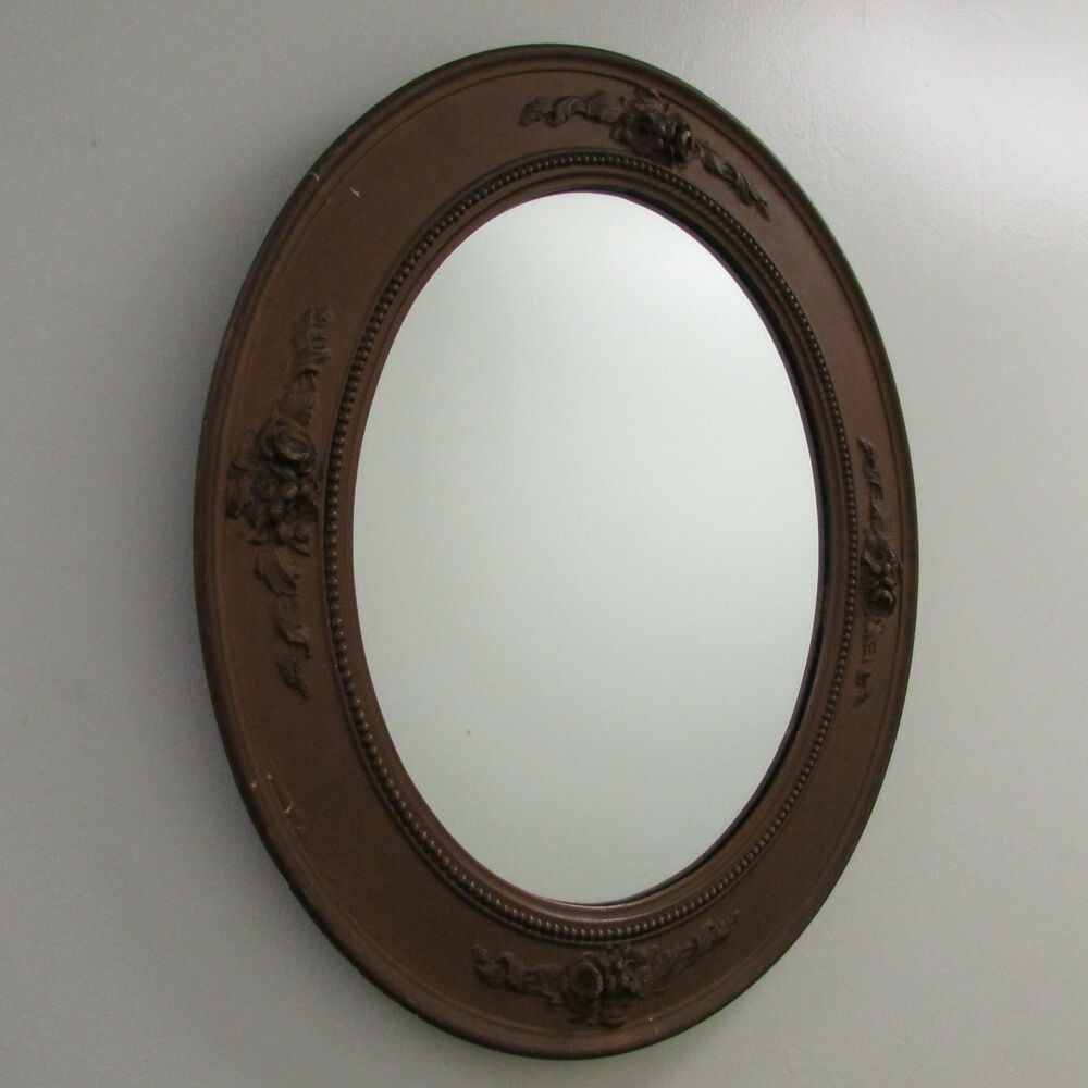 Mirror large oval hanging rococo bronze heavy plaster for Hanging a large mirror
