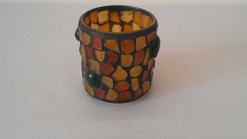 Multi Colored Glass Mosaic Votive Candle Holder Ebay
