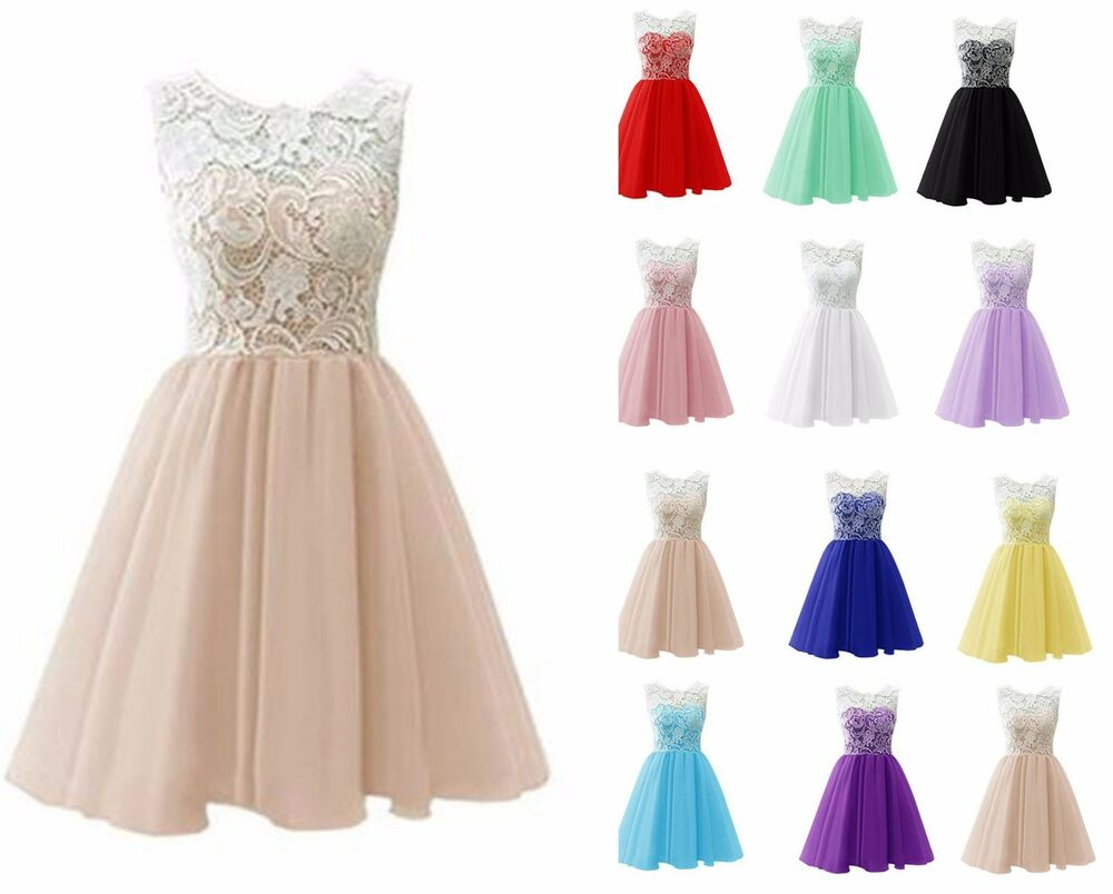 Junior lace short wedding bridesmaid dress evening prom for Ebay wedding bridesmaid dresses