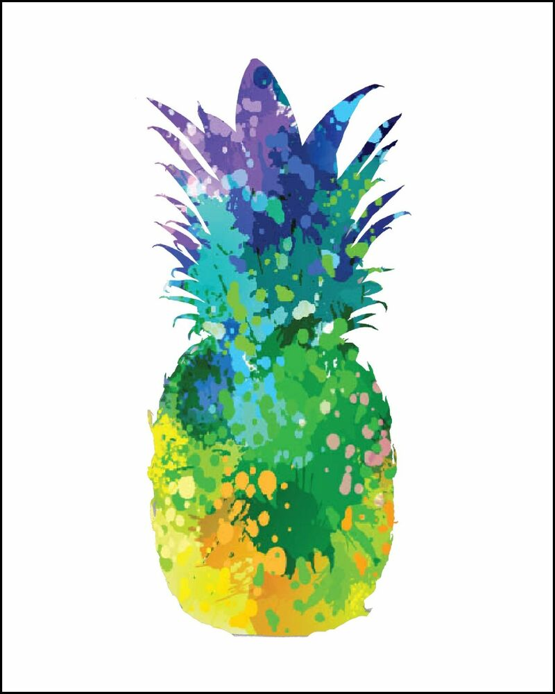 Pineapple Silhouette Multi Color Watercolor Painting Print