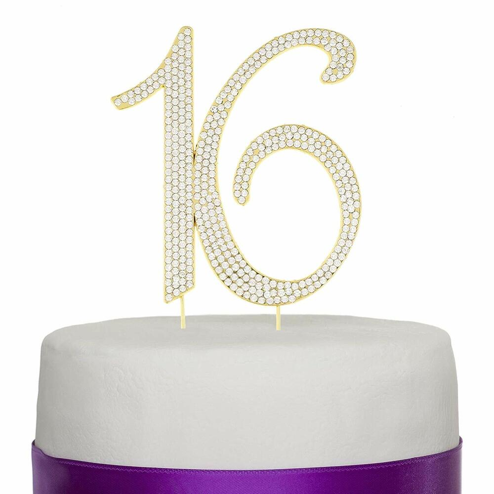 Gold Sweet Sixteen 16 Birthday Number Cake Topper ...