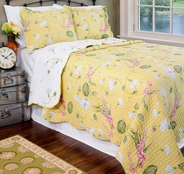 New tara floral yellow reversible quilt and sham set in for King shams on queen bed