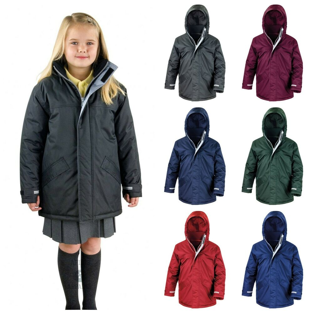 Childrens Waterproof School Coat Jacket Parka Warm Boys ...