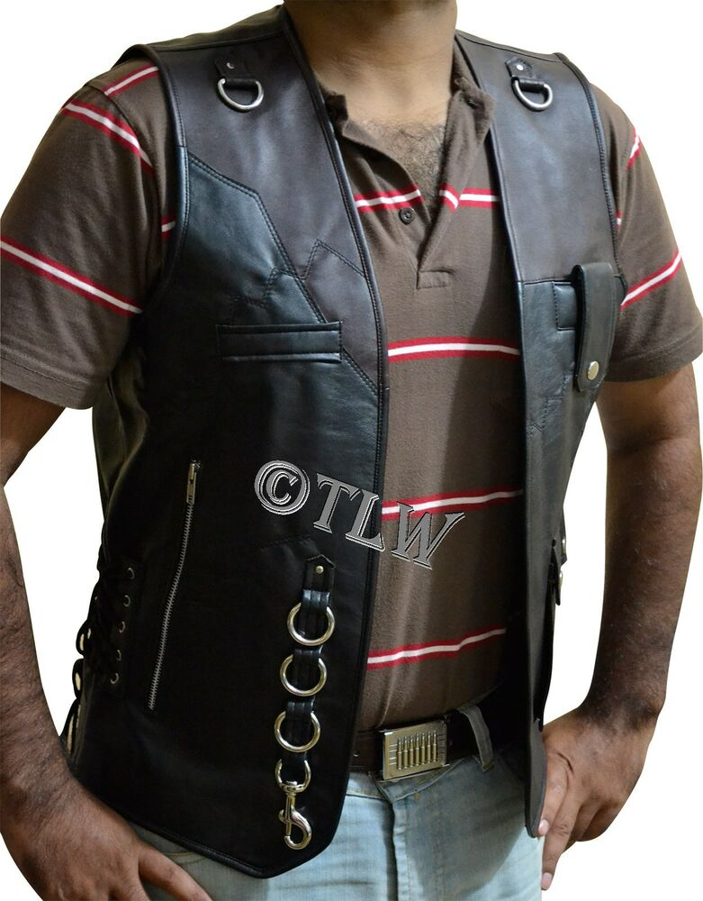Front Open Buckle Vest Leather Jacket Biker Motorcycle All Sizes Fast Shipping Ebay
