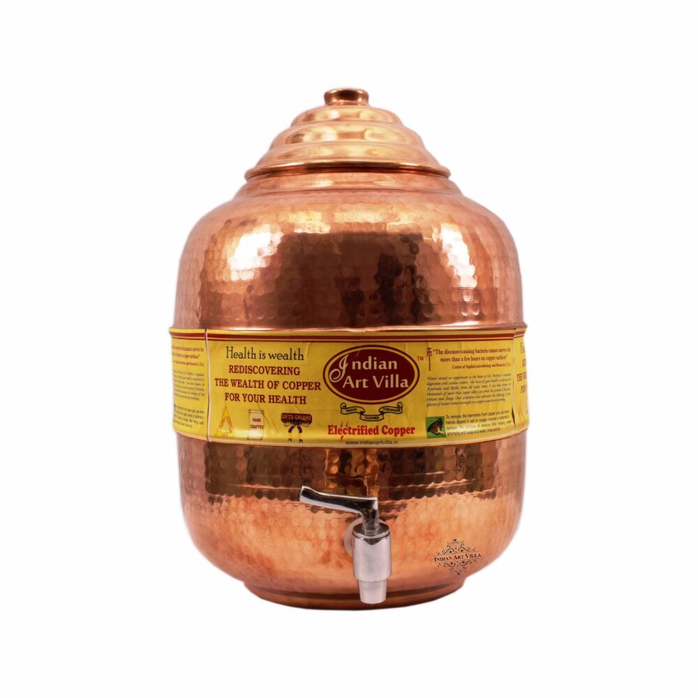 Pure Copper Water Pot Tank With Tap For Storage Kitchen