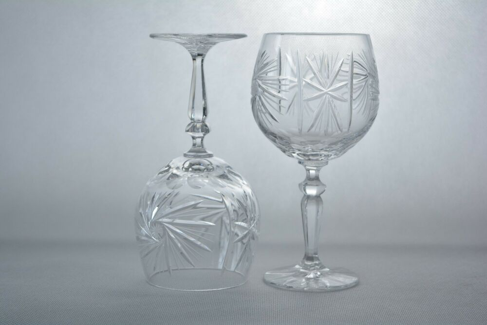 Crystal glass wine glasses set of 6 from poland hand made for Hand designed wine glasses