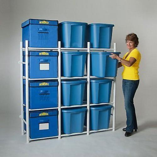 Garage Organization Shelving: Storage Tote Shelving Rack 12 Bins Organize Basement