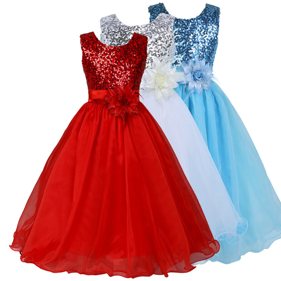 Kids flower girls princess pageant dance party dress for Dresses for wedding party