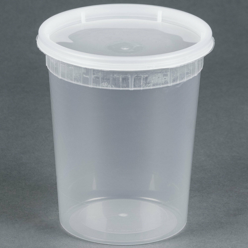 Sunnycare 174 32 Oz Clear Round Deli Container With Lid 250