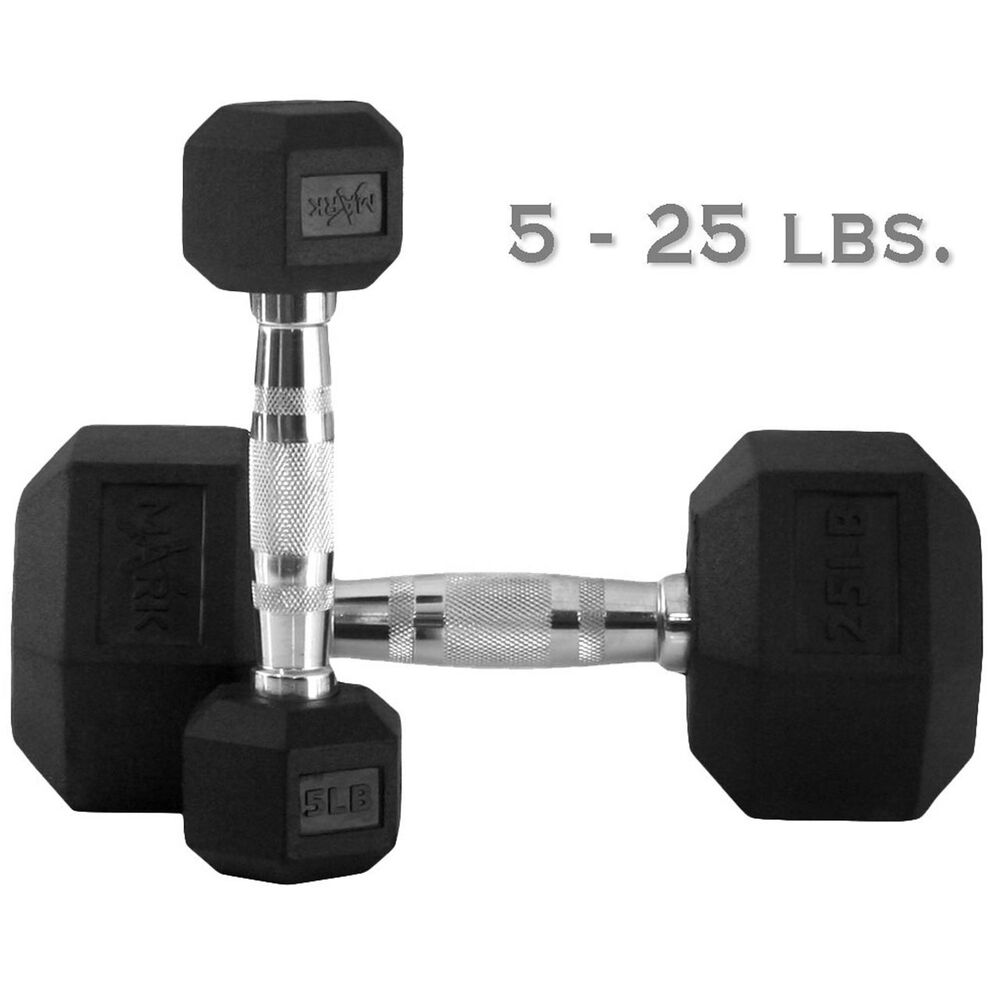 Rubber Dumbbell Set: 25 Lb. Rubber Hex Dumbbell Set 5 Pairs XM