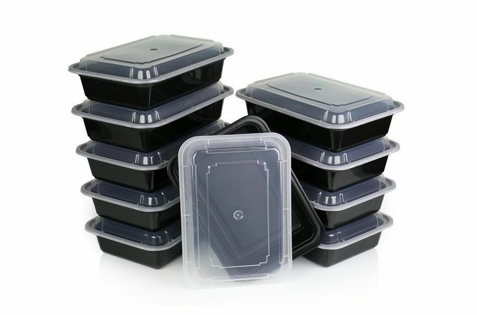 10 meal prep containers plastic food storage reusable microwavable w lid fitpack ebay. Black Bedroom Furniture Sets. Home Design Ideas