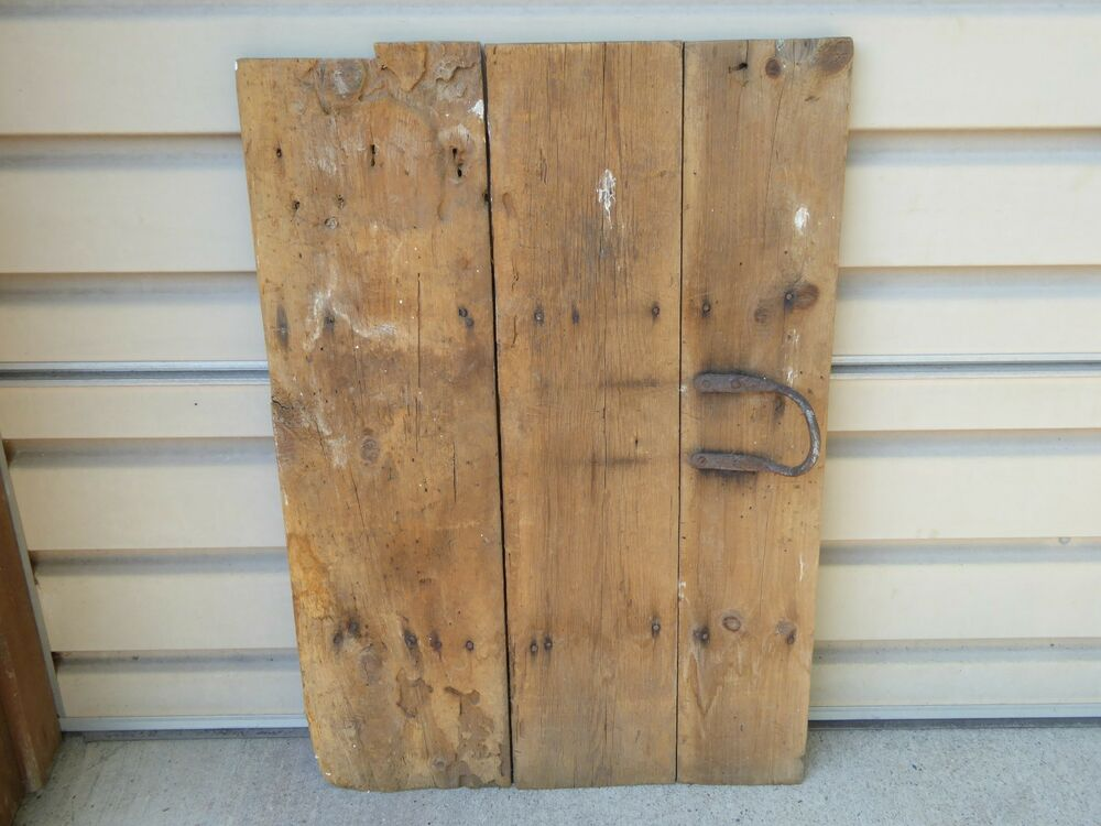 Early 19th c adorable small wood barn door w wrough iron for Where can i buy old barn wood