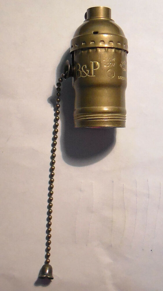 Antique Finish Solid Brass Pull Chain Lamp Socket With