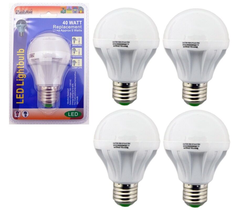 4 pack 5 watt led 110v light bulbs 40 watt replacement energy saving 80 bulb ebay. Black Bedroom Furniture Sets. Home Design Ideas