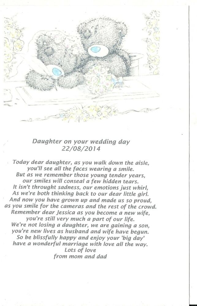 PERSONALISED WEDDING GIFT POEM DAUGHTER ON YOUR WEDDING DAY eBay