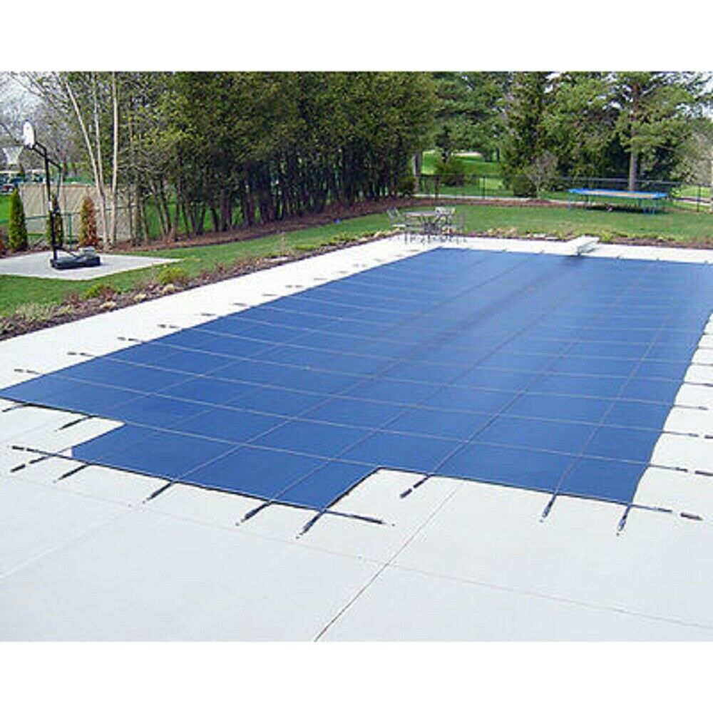Water warden solid safety pool cover w step blue green