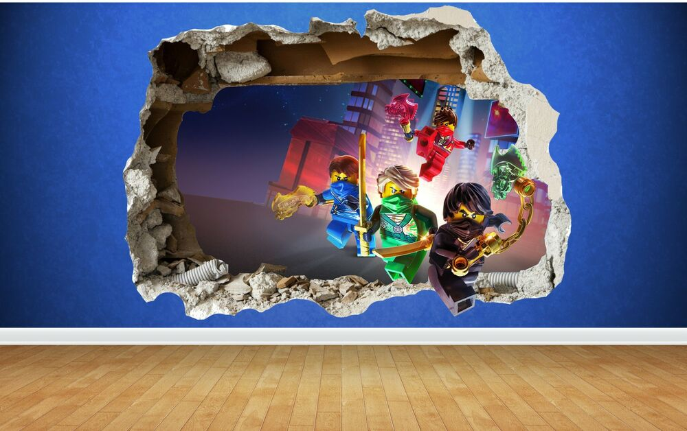 Lego ninjago 3d style smashed wall sticker kids childrens for Bedroom 3d wall stickers