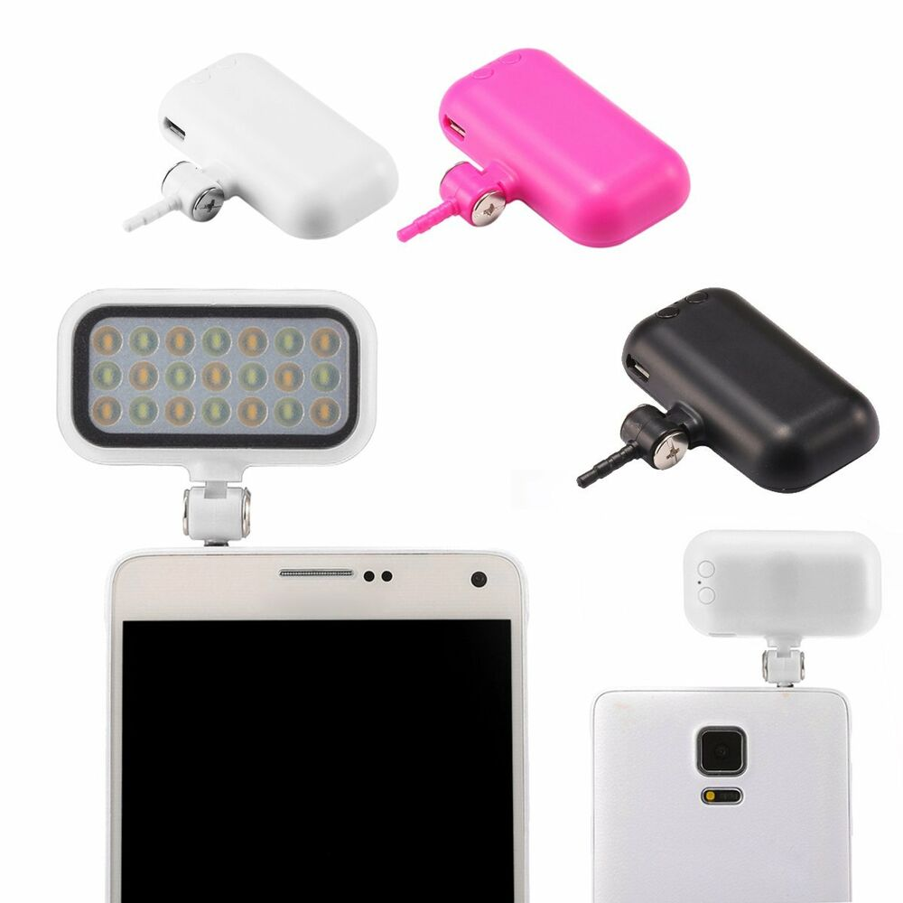 portable smartphone phone selfie mini 21 led flash fill light for iphone android ebay. Black Bedroom Furniture Sets. Home Design Ideas
