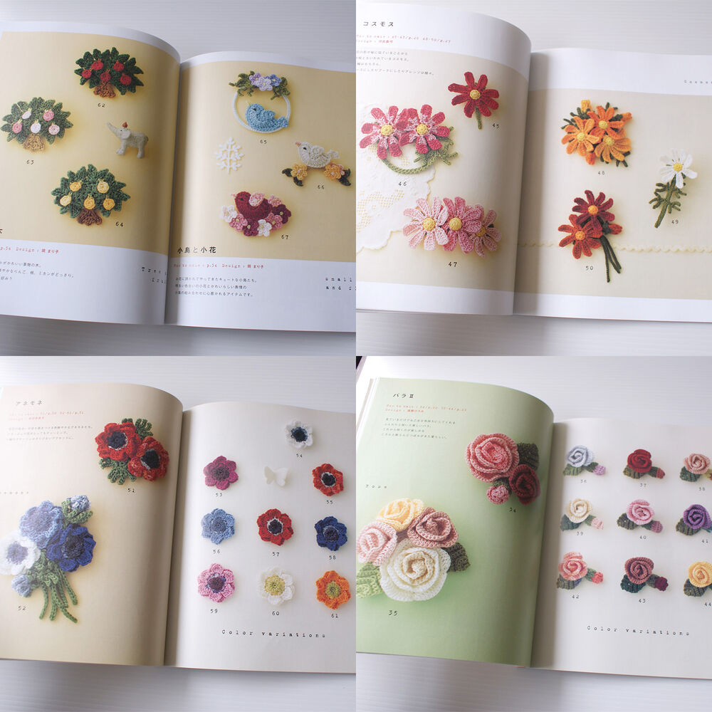 Crochet Corsage of using embroidery thread - Japanese Book ...