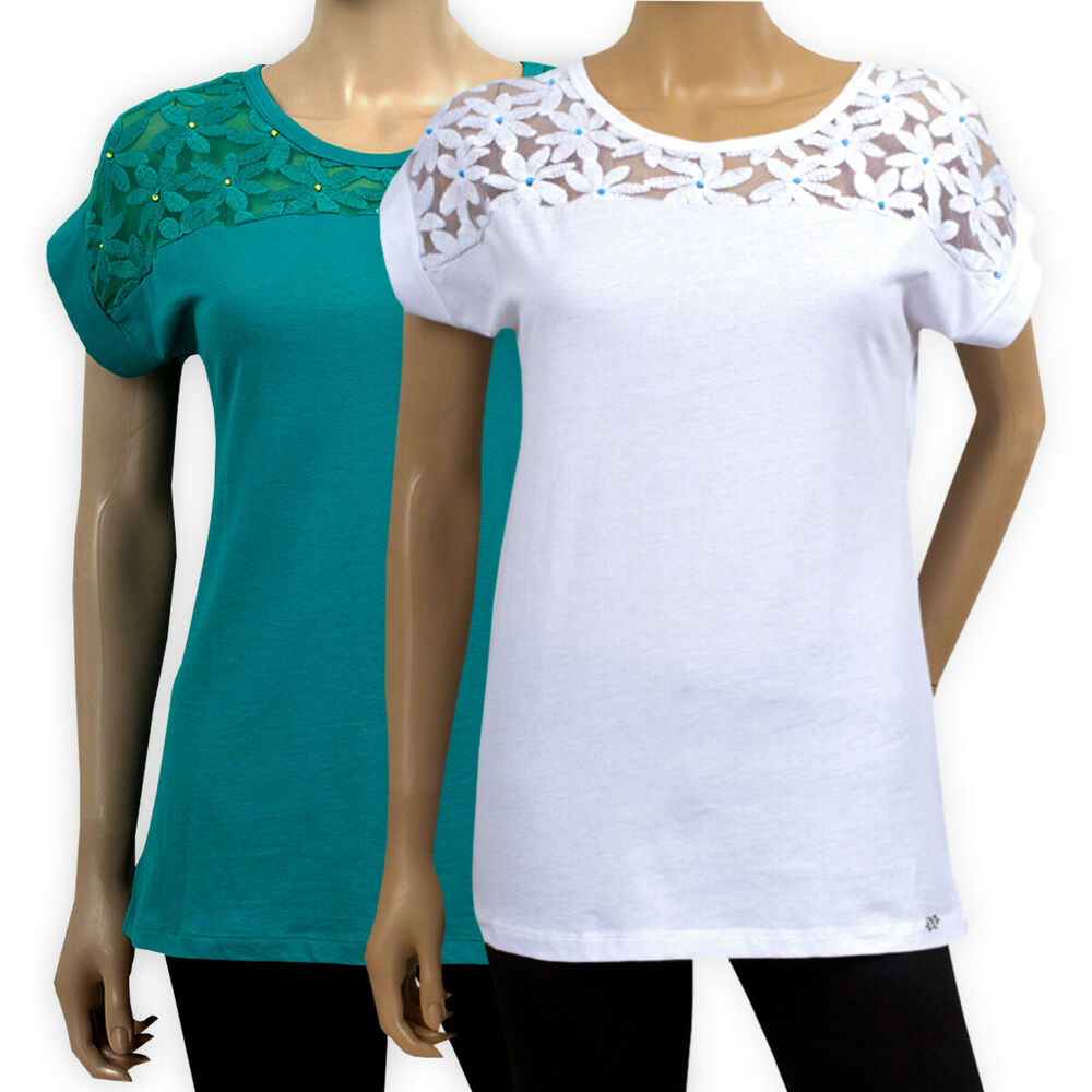 Womens ladies cotton top white teal lace yoke short sleeve for Cotton shirts for womens online