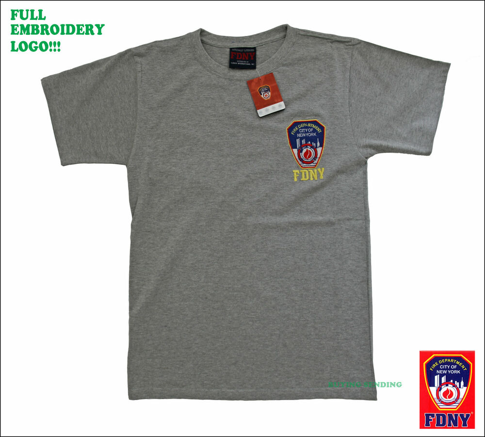 Full embroidery fdny new york city licensed t shirt fire