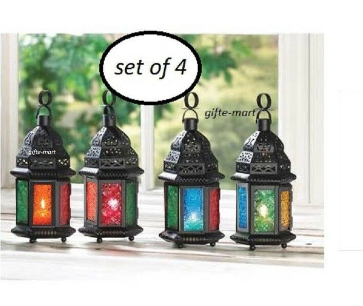 Multi color rainbow glass moroccan candle holder lantern