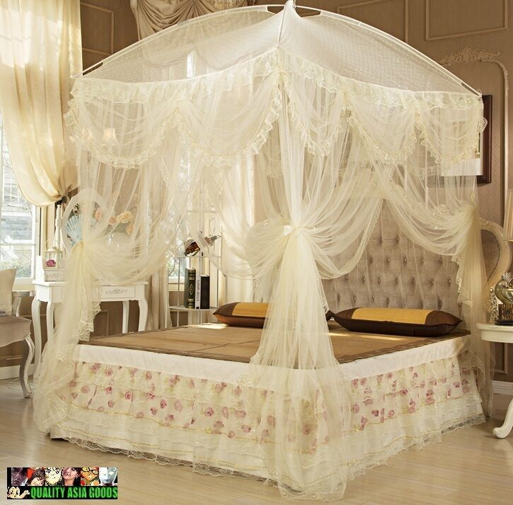 Bed canopy set include both net curtain frame in light for Tende frama